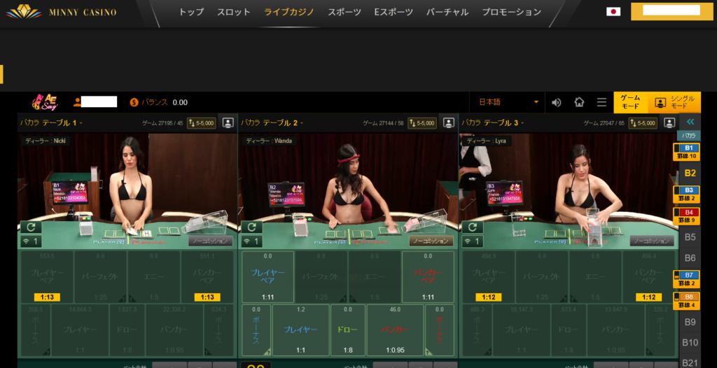 ミニーカジノはディーラーが比較的かわいい