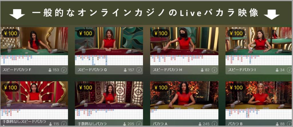 一般的なオンラインカジノのLiveバカラ映像