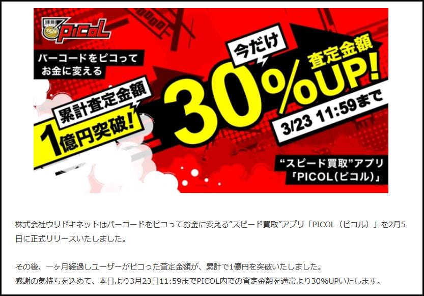 スピード買取アプリ「PICOL(ピコル)」再開約一ヶ月で累計査定金額1億円を突破