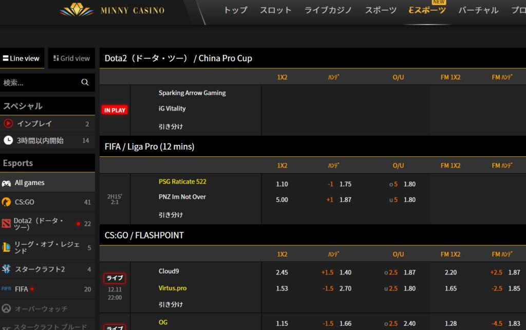 ミニーカジノのeスポーツ(11月12日)